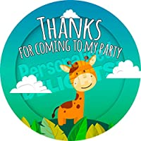 Personalised Delights African Giraffe Sticker Labels (24 Stickers, 4.5cm Each) NON PERSONALISED Seals Ideal for Party Bags, Sweet Cones, Favours, Jars, Presentations Gift Boxes, Bottles, Crafts