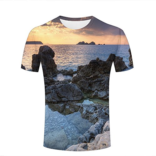 Mens Womens Casual Design 3D Printed Bizarre Sea Rock Graphic Short Sleeve Couple T-Shirts Top Tee L (Sleeve Bamboo Short Tee)