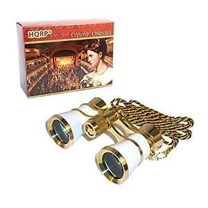 HQRP 3x25 Jumelles de theatre opéra blancs de nacre avec collier doré avec nouvelle technologie optique clair comme le cristal (OCC)
