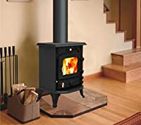 "New Multifuel Cast Iron Log Burner Wood Burning Stove Woodburners Clean Burn + One Free 5"" Flue Pipe"
