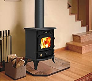 "Lincsfire Harmston JA013S 5.5KW Type A Multifuel Stove Clean Burn Wood Burner Log Burning Woodburning Cast Iron Fire Fireplace + One Free 5"" Flue Pipe"
