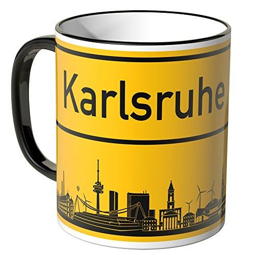 Wandkings® Tasse, Skyline Karlsruhe - SCHWARZ