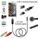 #8: Elvy 2M Cable, 700TVL : 2M Cable 5.5mm 6 LEDs IP67 Waterproof USB Endoscope Android OTG Snake Tube Pipe 5cm 480P Mini Surveillance Inspection Camera