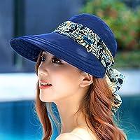 PLKOI La Sra. Sombrero para el sol de verano Playa Sombreros Sombreros Sombreros exterior Cool Cap puede plegarse sombreados en negro cara sombreros