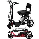 zdw Mini eléctrico triciclo plegable Scooter eléctrico para adultos litio portátil para minusválidos de edad avanzada batería de coche de 48V puede durar de 60 kilometros Rojo, Negro,Negro