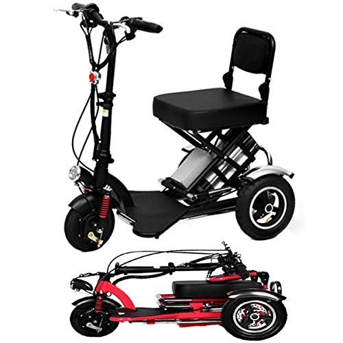 HBC Moda Creativa Mini Triciclo Elettrico Pieghevole Scooter Elettrico per Adulti Portatile al Litio per Disabili Anziano Batteria Auto 48 V può Durare per 60 Km Rosso, Nero
