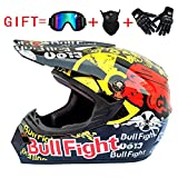 Wenyan Erwachsenen Off Road Helm DOT Dirt Bike Motocross ATV Motorrad Offroad Helm (S, M, L, XL),Black/Bullfight,L