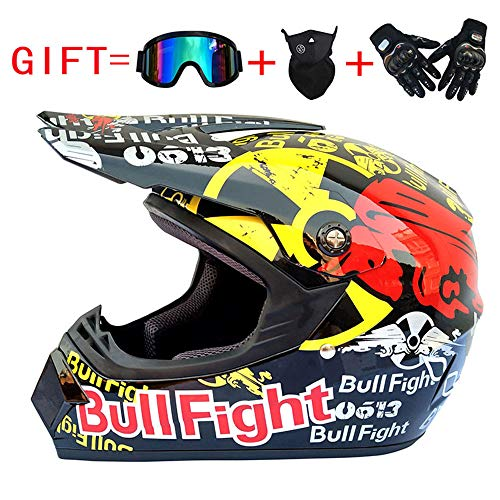 Wenyan Erwachsenen Off Road Helm DOT Dirt Bike Motocross ATV Motorrad Offroad Helm (S, M, L, XL),Black/Bullfight,XL