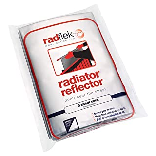 Radflek Radiator Reflectors with Radstik (3 Sheets, 2 Adhesive Strips, Fits 3-6 Radiators)
