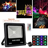 Easter Lights, MEIKEE LED 30w Flood Lights, RGB Colour Changing Security Lights, Outdoor Waterproof Floodlight, Dimmable 16 Colours Modes, Decorate Your Garden, Halloween, Christmas, Party, etc.