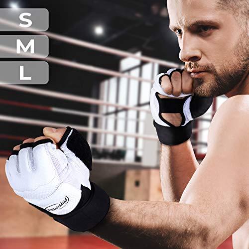 Physionics® Guanti da Palestra - Taglia S/M/L/XL, Senza Dita, Adulto Unisex, per Allenamento, Combattimento di Sacco MMA UFC Sparring, Nero/Bianco - Guantoni da Boxe Mezzo Dito