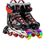 YQ Roller Blades Inline Skates Einstellbare Kinder Kinder Pro Skating Neue Flash Skate Schuhe Set,Red,L