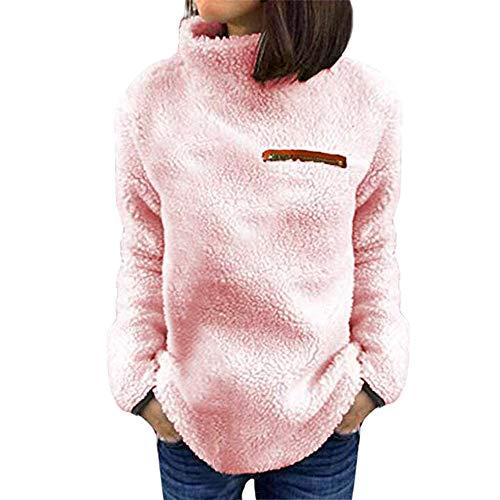 VEMOW Winter Elegante Damen Warme Outwear Sweatershirt Feste Reißverschlüsse Lässig Täglich Im Freien Rollkragen Bluse Pullover Tops Hemd Oberteile(X1-Rosa, 38 DE/M CN) -