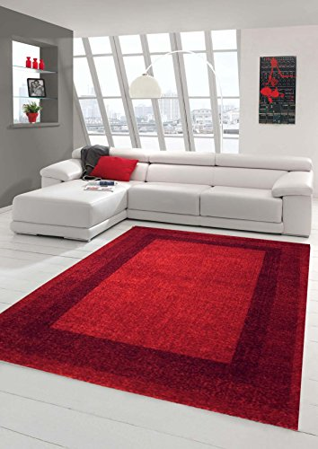Traum Designer Teppich Moderner Teppich Wohnzimmer Teppich Velours Kurzflor Teppich mit Winchester Bordüre in Rot Größe 80x150 cm