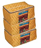 #3: Kuber Industries™ Extra Large Saree Cover/Wardrobe Organiser/Regular Clothes Bag Set Of 3 Pcs In Quilted Golden Satin Material