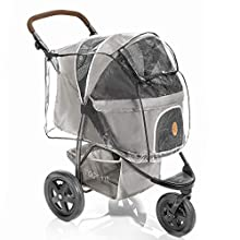 Rain Cover for Dog Buggy TOGfit Pet Roadster - Dog Pram Rain Cover with Rear Side Entry, Ventilation Holes and Peek a Boo Window - Transparent