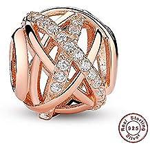 e1279190757f Kiss mesterling plata CZ perlas de crystal charm encaja pulseras perlas de  oro rosa