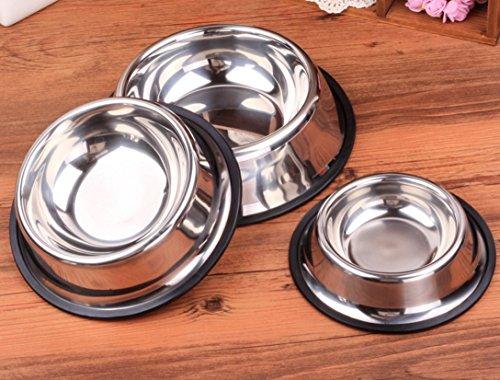Edelstahl Futternapf Wassernapf Edelstahlnapf Hunde Katze Napf Fressnapf M-XL (XL-26cm) - 5