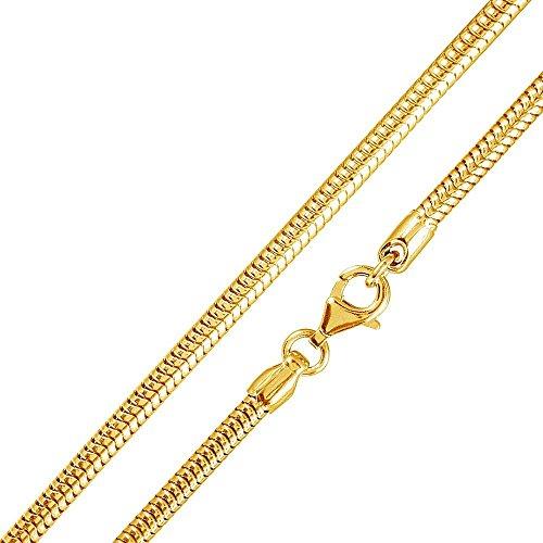 MATERIA-925-Silber-Schlangenkette-Gold-Damen-Halskette-18K-vergoldet-750er-Gold-Kette-12mm-in-40-90-cm-K22-G