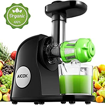 Aicok Extracteur de jus lent, moteur silencieux, extraction froide incluant une carafe et une brosse de nettoyage pour jus de fruits et légumes.Riche en nutrition. - Noir
