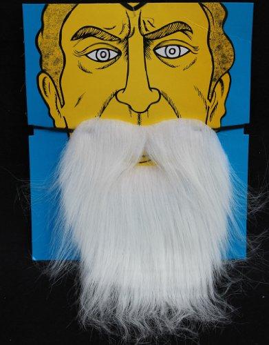 Holzfäller Kostüm Bart - FLAMEER Weißer Weihnachtsmann Zwergen-Bart Holzfäller Bart Rauschebart Kostüm für Herren Damen Kinder