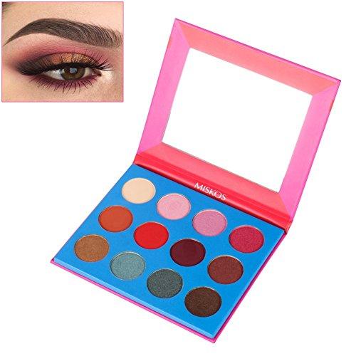 Palette de fard à paupières Shimmer,Kinut Pigmented imperméable à l'eau Longue durée Nude Cosmetics Kit Eye poudre (12Couleurs / Set)