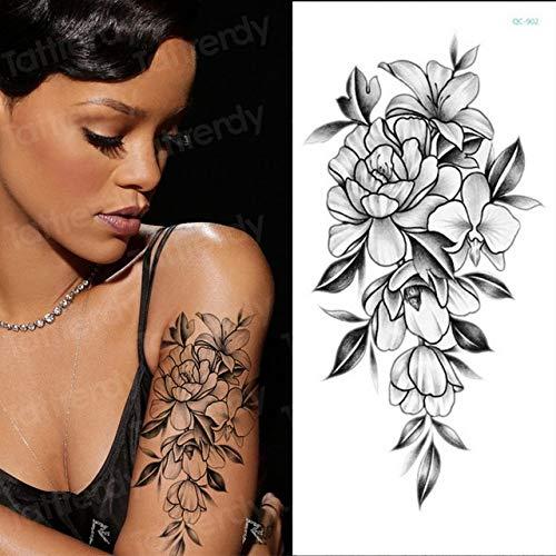 3Pcs-Girl Tattoo Tattoo Vintage Lotus muñeca Pierna Tatuaje Pegatina joyería Ojo geometría Flor Tatuaje 3Pcs-