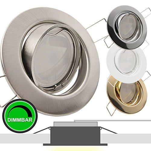 1er Set 230V LED Decken Einbaustrahler DECORA (rund) Edelstahl Optik gebürstet; Modul 5W = 50W; DIMMBAR; Warm-Weiß (2700k); nur 35 mm Einbautiefe; Einbauleuchte; schwenkbar