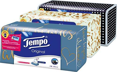 Tempo Taschentücher Original Trio-Box, 4-lagige Tempos in praktischer Tücherbox mit tollem Design, 3 x 80 Tücher (240 Tücher) -