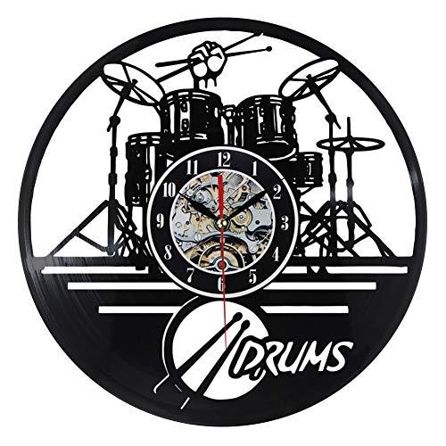 ACLOCK Reloj De Pared De Vinilo, Tambores De Guitarra, Conjunto De Reloj...