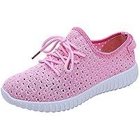 Mujer zapatos planos de malla breathable,Sonnena ❤️ Zapatos de malla al aire libre para mujer Zapatos de suela confortables cordones casuales Correr calzado deportivo