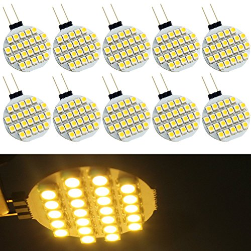 Preisvergleich Produktbild EverBrightt 10er-Pack Warm weißer G4 1210 24SMD LED Bi-Pin Runde zuhause lesen Licht RV Camper Marine Leuchten Lampen DC 12V