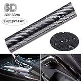 CompraFun 6D Auto Folie, Carbonfaseraufkleber 300 * 30cm, Wasserdichter flexibel Carbon Folie Autoaufkleber