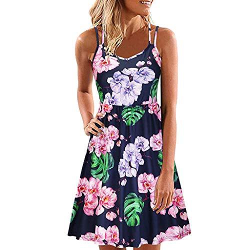 iYmitz Damen Sommer Sommerkleid Vintage Boho Ärmelloses Beiläufige Rundhals Rock Partykleid Trägerlosen Minikleid Blumenkleid Tops(Schwarz-X3,EU-42/CN-2XL)
