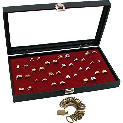 Findingking Colliers Verre Top Bijoux Bague 72 Rouge Écran cas boîte bonus