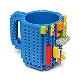 BonZeal Creative Build-On Brick Blocks Puzzle Plastic Coffee Tea Creative Funny Cup Mugs Drinkware (Blue)