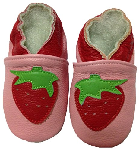 JT-Amigo Leder Lauflernschuhe Krabbelschuhe Babyschuhe, Erdbeere, 12-18 Monate Erdbeere