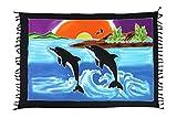 Ciffre Original Yoga Sarong Pareo Wickelrock Strandtuch Rund ca 170cm x 1110cm Handtuch Schal Kleid Wickeltuch Wickelkleid Delfin Hawaii Südsee