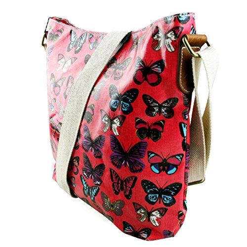 Miss Lulu , Damen Umhängetasche Butterfly Plum