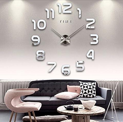 Asvert Modern DIY 3D Frameless Wall Clock,Creative Mute Sticker Art Home Office Decor, Diameter 20 Inches,Removable Digital Decoration-Silver Acrylic (Battery Not