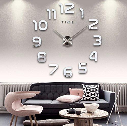 Asvert Wanduhr moderne DIY 3D Frameless große Wand Taktgeber Art Uhren Stunden Raum Ausgangsdekorationen,3D Digital Acryl kreativ DIY Wand Aufkleber Wandtattoo Dekoration fürs Wohnzimmer Schlafzimmer