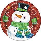 18cm eckig Schneemann Swirl Weihnachten Party Teller, 8Stück