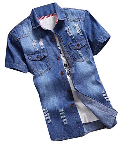 fulok-mens-fashion-denim-hole-destroyed-slim-short-sleeve-shirts-m-dark-blue