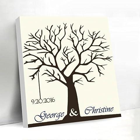 Pulgar Impresión Árbol lienzo libro de invitados para boda árbol de huellas digitales almohadilla de tinta personalizada nombre y fecha para novia ducha