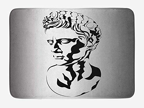 NasNew Toga Party Bath Mat, Graphic Statue Design of Augustus Roman Emperor Ruler Ancient Artwork, Plush Bathroom Decor Mat with Non Slip Backing, 31.69 X 19.88 Inches, Grey Black White