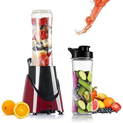 Kitchen Collection Mix & Go - DIKI Mini Batidora Eléctrica Extractor Food Grinder Multifunción Licuadora con Dos Botellas de 600ml de Viaje Deporte Plug & Play, Libre de BPA, color Rojo y