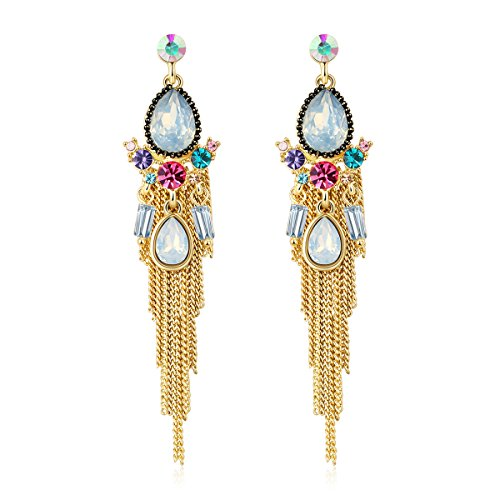 Jewels Galaxy Crystal Elements Opal Folklore Gemisphere Exquisite Pair Of Chain-Drop Earrings For Women/Girls