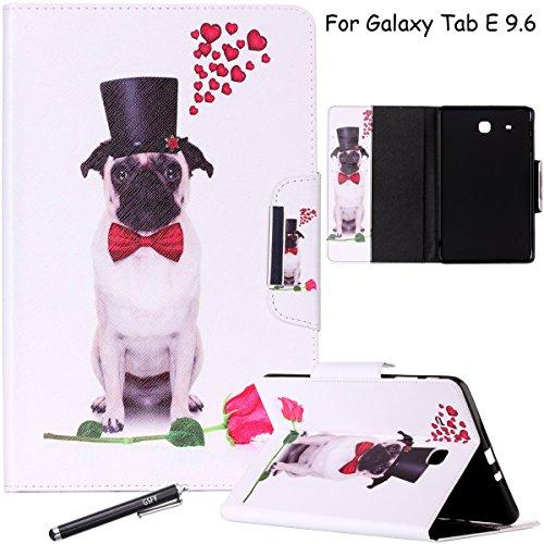 Galaxy Tab E 9,6Fall, newshine Slim Flip Folio Smart Shell [Standfuß] Schutzhülle mit Magnetverschluss [Auto Wake/Sleep-Funktion] für Samsung Galaxy Tab A 24,4cm Tablet sm-t560, 3 Bulldog&Rose Bulldog-handy-fall