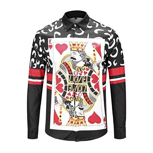 CHENS T Shirt/Langarm/Kurzarm/Slim fit Kreatives langärmliges Hemd im Poker-Stil mit Cardigan-Print von Trend Personality für Herren