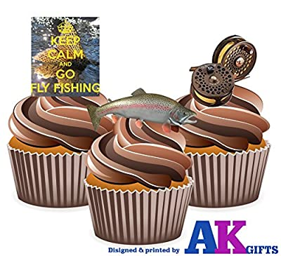 Keep Calm Fly Fishing Cake Decorations - Edible Cup Cake Toppers (Pack of 12) from AK GIfts